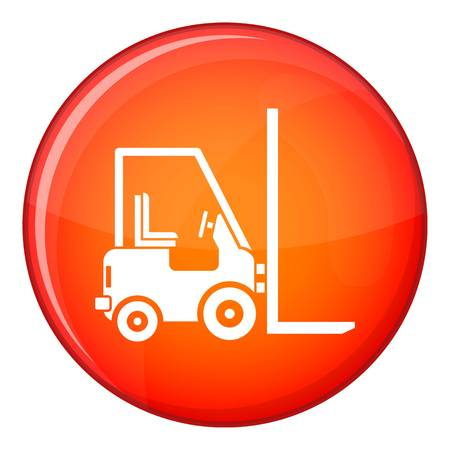 Stacker loader icon in red circle isolated on white background vector illustration