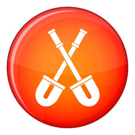 unearth: Shovels icon in red circle isolated on white background vector illustration