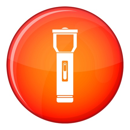 lite: Pocket flashlight icon in red circle isolated on white background vector illustration