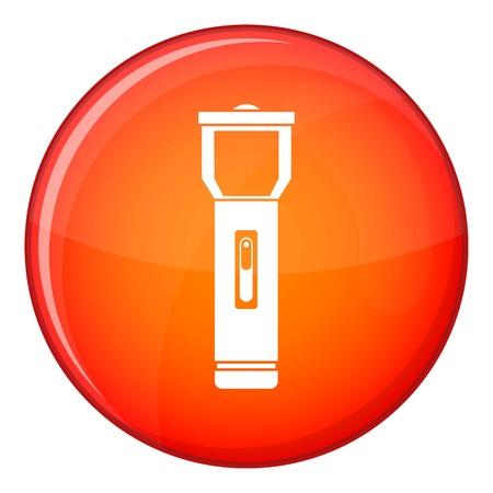 pocket flashlight: Pocket flashlight icon in red circle isolated on white background vector illustration