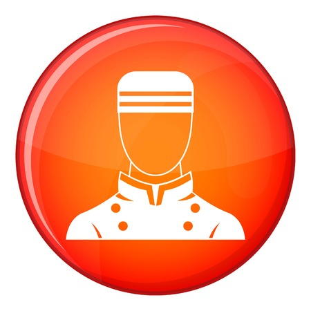 Doorman icon in red circle isolated on white background vector illustration