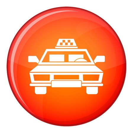 Taxi car icon in red circle isolated on white background vector illustration Illustration