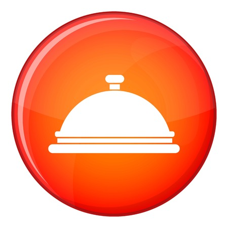 Restaurant cloche icon in red circle isolated on white background vector illustration