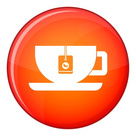 Cup of tea with tea bag icon in red circle isolated on white background vector illustration