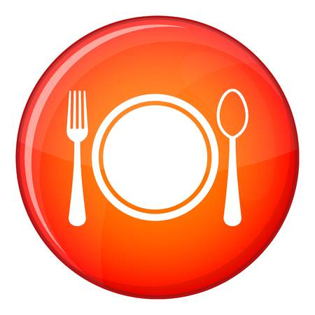 plate setting: Place setting with plate,spoon and fork icon in red circle isolated on white background vector illustration Illustration