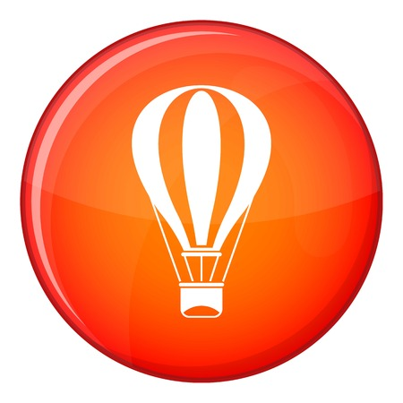 drift: Hot air balloon icon in red circle isolated on white background vector illustration