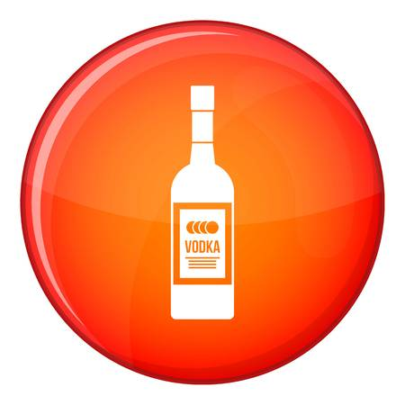 distill: Bottle of vodka icon in red circle isolated on white background vector illustration
