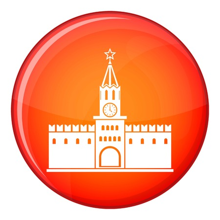 Russian kremlin icon in red circle isolated on white background vector illustration