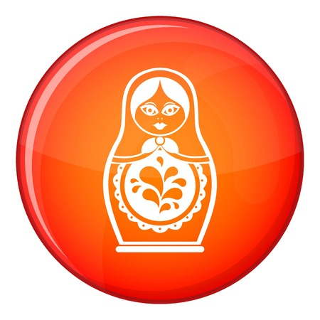Matryoshka icon in red circle isolated on white background vector illustration Illustration