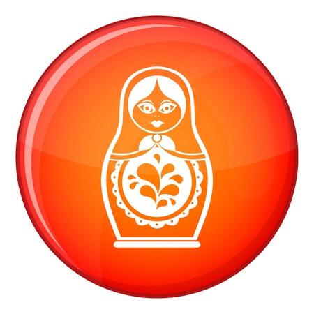 muñecas rusas: Matryoshka icono en círculo rojo aislado sobre fondo blanco ilustración vectorial