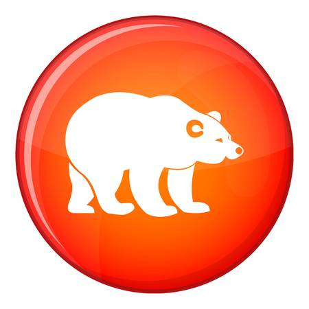 Bear icon in red circle isolated on white background vector illustration