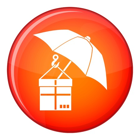 gift accident: Umbrella and a cardboard box icon in red circle isolated on white background vector illustration Illustration