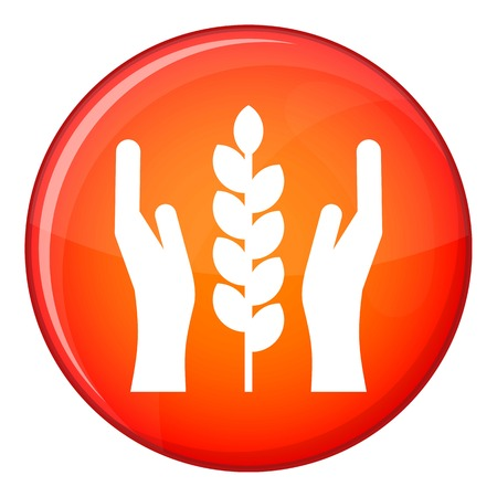 Hands and ear of wheat icon in red circle isolated on white background vector illustration Illustration