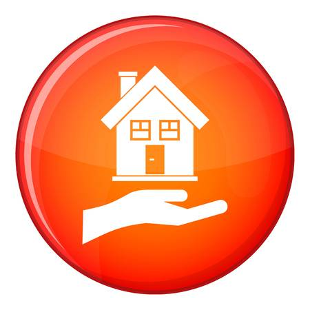Hand holding house icon in red circle isolated on white background vector illustration