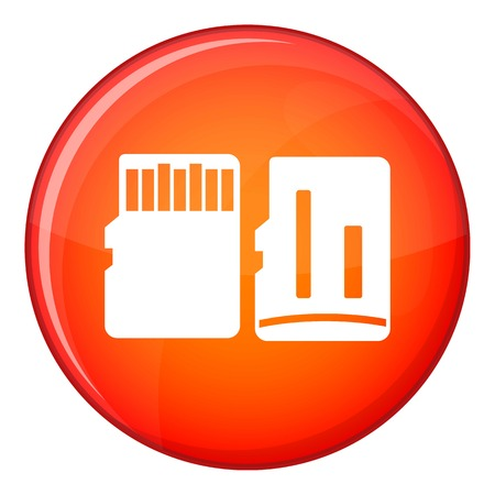 sd: Both sides of SD memory card icon in red circle isolated on white background vector illustration Illustration