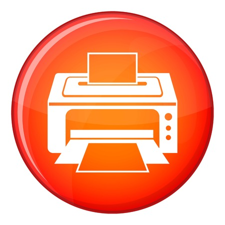 Printer icon in red circle isolated on white background vector illustration