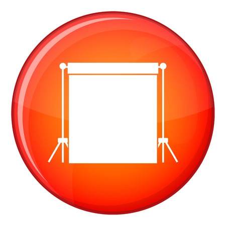 strobe light: Studio backdrop icon in red circle isolated on white background vector illustration