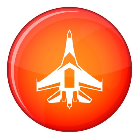 fighter plane: Jet fighter plane icon in red circle isolated on white background vector illustration