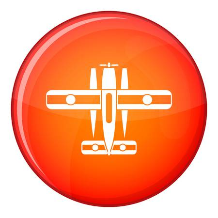 Ski equipped airplane icon in red circle isolated on white background vector illustration