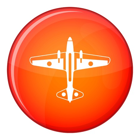 Military aircraft icon in red circle isolated on white background vector illustration