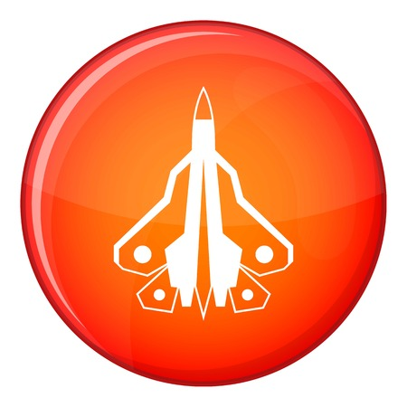 fighter plane: Military fighter plane icon in red circle isolated on white background vector illustration Illustration