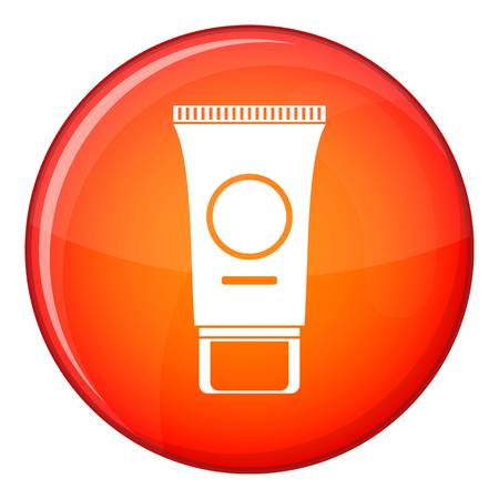 Cosmetic cream tube icon in red circle isolated on white background vector illustration