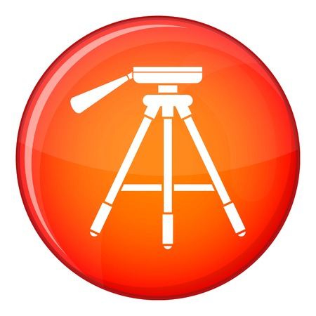 Tripod icon in red circle isolated on white background vector illustration
