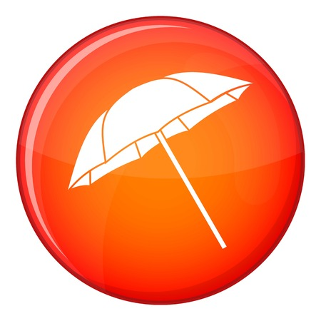 strobe light: Umbrella icon in red circle isolated on white background vector illustration
