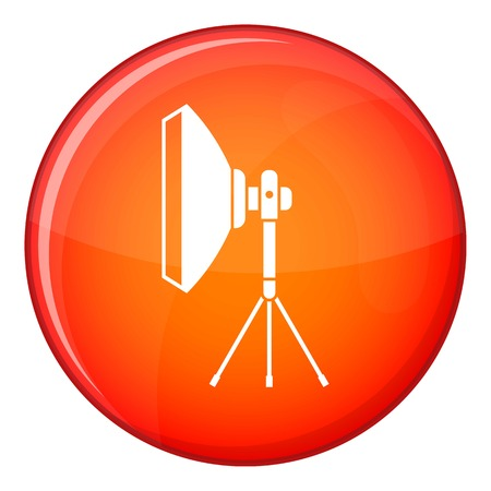 stripbox: Studio lighting equipment icon in red circle isolated on white background vector illustration