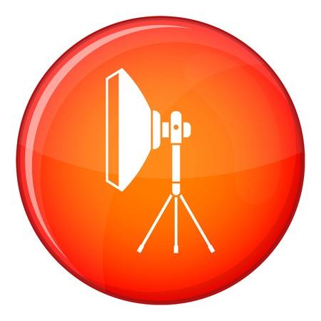 strobe light: Studio lighting equipment icon in red circle isolated on white background vector illustration