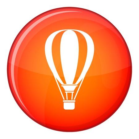 aerostatics: Hot air ballon icon in red circle isolated on white background vector illustration Illustration