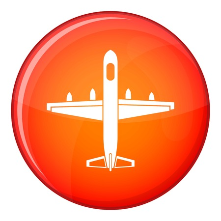 Military plane icon in red circle isolated on white background vector illustration