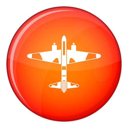 Military fighter aircraft icon in red circle isolated on white background vector illustration Ilustração