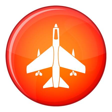 Armed fighter jet icon in red circle isolated on white background vector illustration Illustration