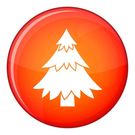 Coniferous tree icon in red circle isolated on white background vector illustration