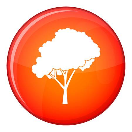 arboles frondosos: Tree with a rounded crown icon in red circle isolated on white background vector illustration