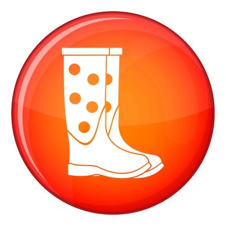 zapatos de seguridad: Caucho icono de botas en el círculo rojo aislado en el fondo blanco ilustración vectorial