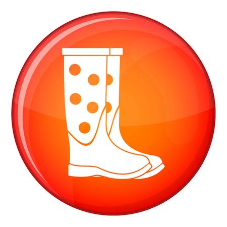 Rubber boots icon in red circle isolated on white background vector illustration Illustration