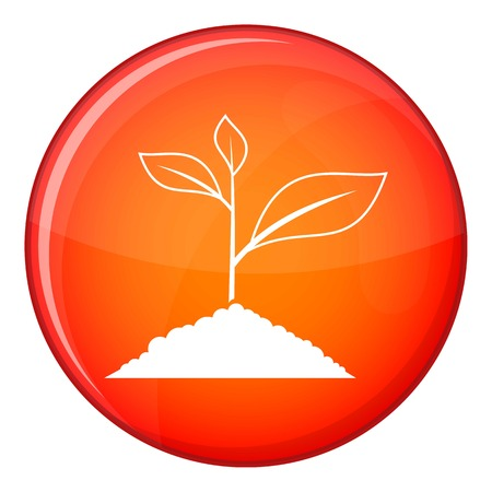 Growing plant icon in red circle isolated on white background vector illustration
