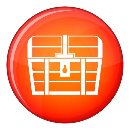 Chest icon in red circle isolated on white background vector illustration Illustration