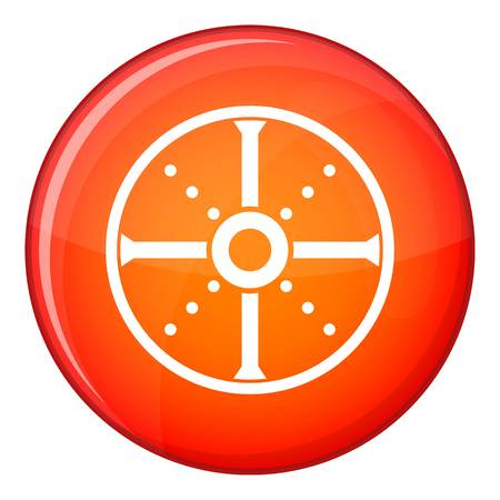 Round shield icon in red circle isolated on white background vector illustration