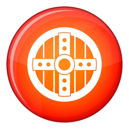 Round protective shield icon in red circle isolated on white background vector illustration