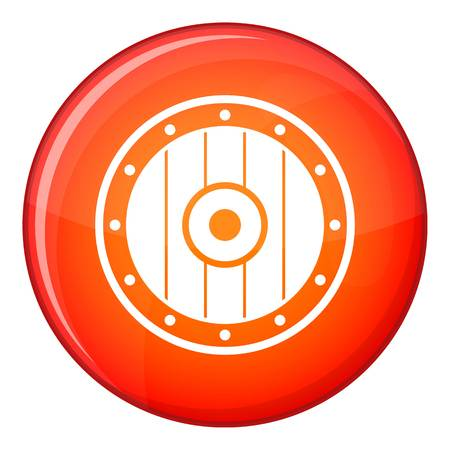 Round army shield icon in red circle isolated on white background vector illustration Illustration