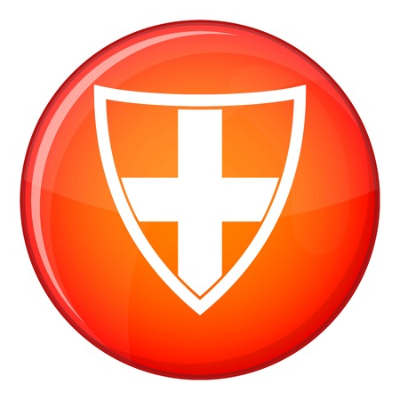 combatant: Shield for protection icon in red circle isolated on white background vector illustration