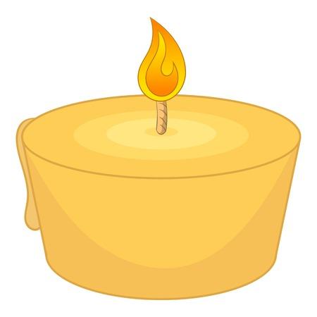 Burning candle icon. Cartoon illustration of burning candle vector icon for web