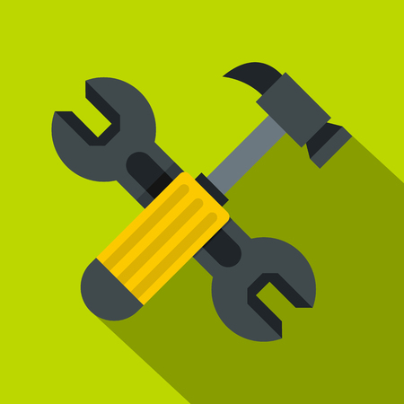 tooling: Crossed wrench and hammer icon. Flat illustration of crossed wrench and hammer vector icon for web isolated on lime background