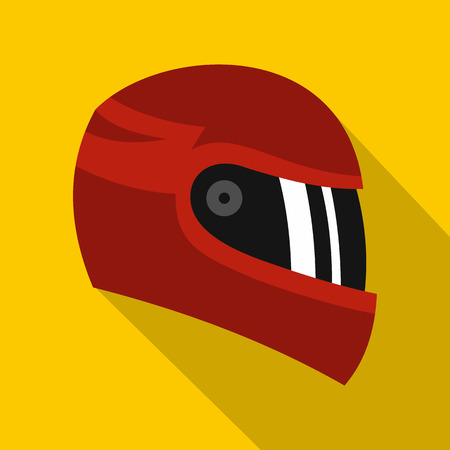 Red racing helmet icon. Flat illustration of red racing helmet vector icon for web isolated on yellow background