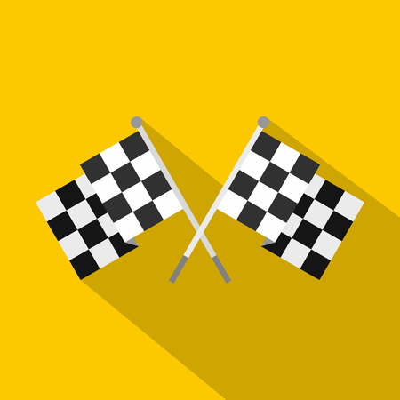 dragster: Crossed chequered flags icon. Flat illustration of crossed chequered flags vector icon for web isolated on yellow background