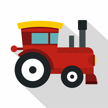 Red toy train icon. Flat illustration of toy train vector icon for web isolated on white background Illustration