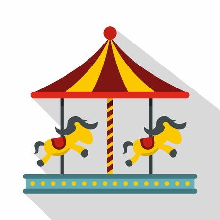 Children carousel with colorful horses icon. Flat illustration of children carousel with colorful horses vector icon for web isolated on white background Illustration